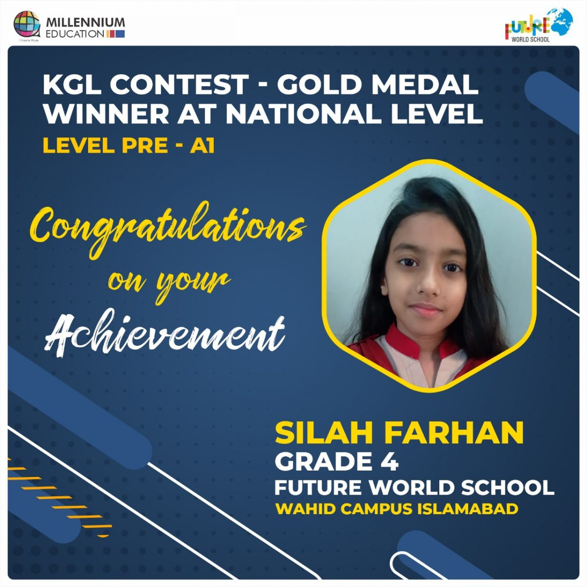 Silah Farhan Secured Gold Medal at KGL Contest | Qualified for Global Round